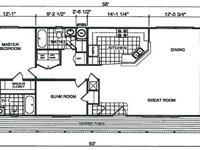 This home measures 26' by 50' with the attached porch,