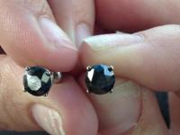 Paid 1400. 2 1 ct black diamond solitairesLess than 1