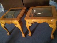 Selling 3 tables with glass top,2 side tables and 1