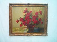 "A.D. Greer Oil on Canvas 30""x36"" Nameplate- A Bouquet"