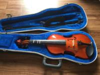 3/4 violin with hard case, bow and shoulder rest. Can