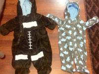 3-6 month fleece snow suits, $10 each