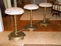 THREE ANTIQUE BARSTOOLS.  WERE BOUGHT FROM AN OLD