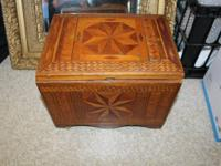 1. ANTIQUE PLYWOOD BOX - ABOUT THE SIZE OF A RECORD -