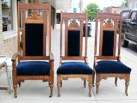 We have 3 antique oak throne chairs, asking $475 for
