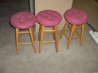 "3 Bar stools, 24"" tall. Please call . Location:"