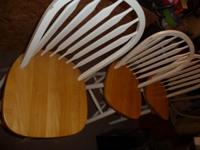 3 oak color and white bar stools for sale. Bar stools