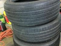 3 Tires, with 50%+ tread, ready to mount and drive,