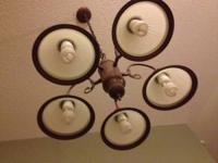 3 light fixtures.. 2 chandeliers use in kitchen one has