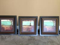 3  Custom Framed Teal and Brown Oil paintings  size: