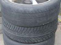 For sale are 3 tires & rims. Two of the tires are worn,