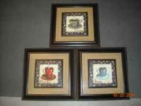 3 gently used art prints of coffee, java etc. all 3