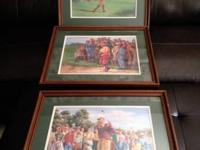 I am selling 3 framed golf art prints by Marv Brehm.