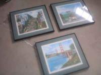 3 Framed Prints of San Francisco. Asking $25.00 per