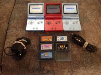 I have 3 Gameboy Advance SP units 5 GBA Games and 1
