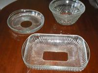 3 Beautiful cut glass serving / baking pieces. All 3