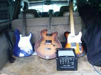 I have 3 guitars and an amp for sale. The blue one,