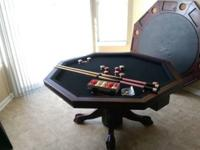 3 in 1 Game Table: bumper pool, poker, and dining room