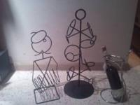 3 Iron Wine racks,, very nice wine rack / holder- $10