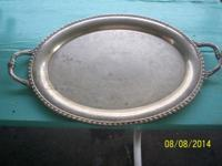 "PRICE: 5.00. SILVER PLATED PLATTER. 20"" long - 15"""