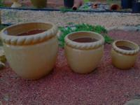 3 NEW! Acorn Style Ceramic Planters (Price is for All)