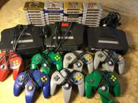 Large Nintendo 64 lot with 3 consoles, 7 controllers,