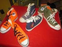 2 pair are Converse Allstars and 1 pair is Keds. The