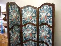 3 Panal Floral Fabric Divider w/ cherry wood $199.00