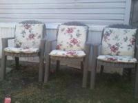 3 patio chairs 3 chair cushions 60 dollars cash i gotta