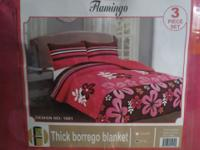 3pc bedspread blanket set, interior made from borrego
