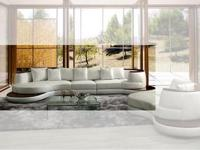 3 PCs.Snow White Geniune Leather Sectional Sofa by Max