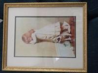 3 pictures with gold frames and glass. 1 measures 18