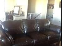 Beautiful, Dark Espresso colored leather sofas. 3 Piece