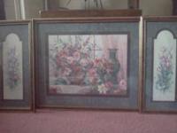 3 piece floral picture set. Burgundy Frame! Good
