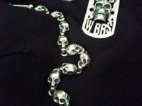 Awesome silver skull jewelry set made in Italy. Comes