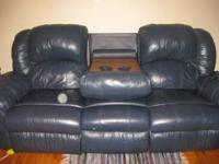 Must Sell: 3 piece dark blue leather living room