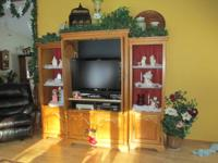 3-Piece Oak Entertainment Center.  Purchased from