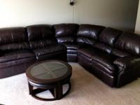 3 piece sectional leather sofa:+ purchased 2 years