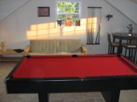 "Red felt, 3 piece 1"" slate pool table for sale. Black"