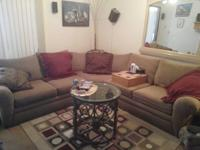 3 piece sectional sofa, with 5 pillows, 2 iron glass