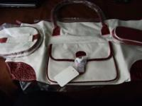 DARLING 3 PIECE CREAM/BURGANDY MOC CROC HANDLED PURSE