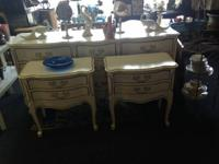 I have for sale a 3 piece white vintage dresser set. It