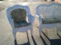 I HAVE FOR SALE A NICE 3 PIECE WICKER SET WITH PADS IN