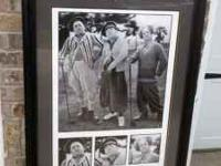 Custom matted and framed 3 Stooges print in excellent