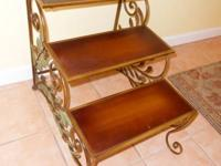 3-TIER PLANT STAND, WOOD SHELVES W / SCOLLED METAL