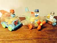 Three vintage Playskool toys, an airplane, a wrecker