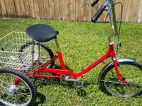 "3 Wheel Bicycle Adult 24"" Folding Miami Sun Single"