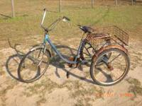 3 wheel bike with a basket. Bike is rusted & needs some