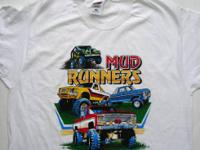 3 NEW large white men's t-shirts  Mud Runners image on
