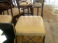 3 gorgeous metal bar stools - metal and fabric. $65